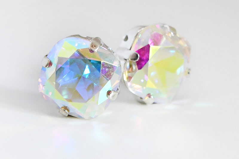 Kristallslider med spegeleffekt, Antiksilver stomme 12mm