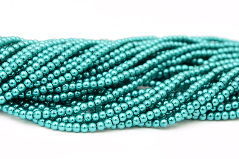 Vaxade glaspärlor 4mm, Teal 216st