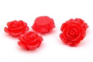 Akrylrosor dekoration, Röd, 10-14mm, 5st