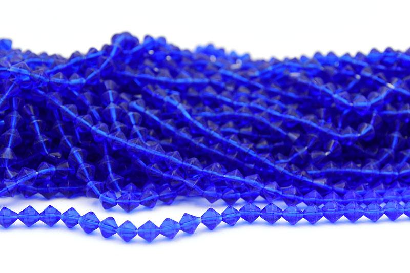 Glaspärlor Bicones 6mm Jätteblå 55-60st
