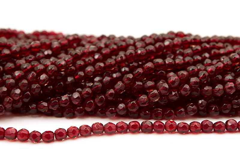 Fasetterade glaspärlor Mörkröd 6mm