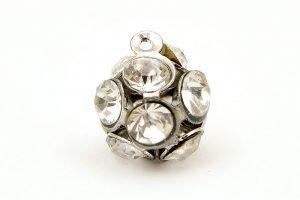 Antiksilver berlock, Kristallpärla med 12 stora kristaller