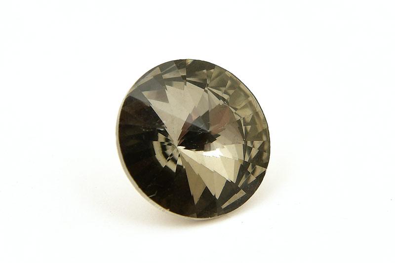 Rivoli pärla i glas, 18mm Grå