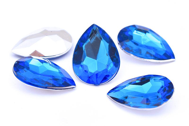 Akryldroppar utan hål, Fasetterade 25x18mm, Blå, 5st