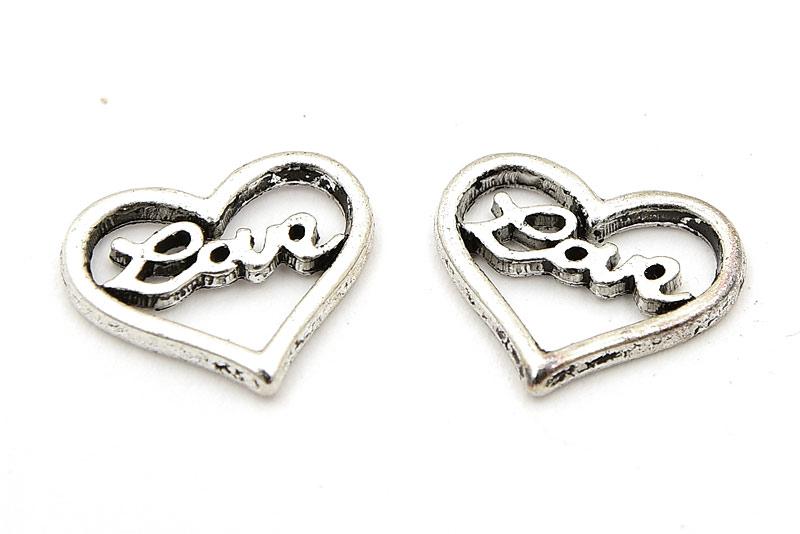 Antiksilver berlocker, Hjärtan med texten LOVE, 2st