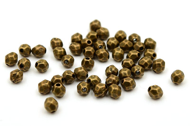 Vintage fasetterade små metallpärlor 4x5mm, 50st