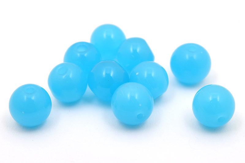 Jadeimitation Runda 10mm Turkosblå, 10st