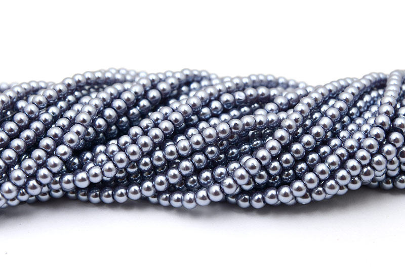 Vaxade glaspärlor 4mm, Gråblå 216st