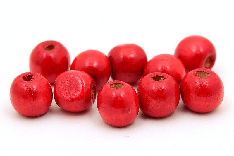 Träpärlor Runda 12mm Röd