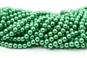 Hel sträng Vaxade glaspärlor 8mm Grön