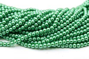 Hel sträng Vaxade glaspärlor 6mm Grön
