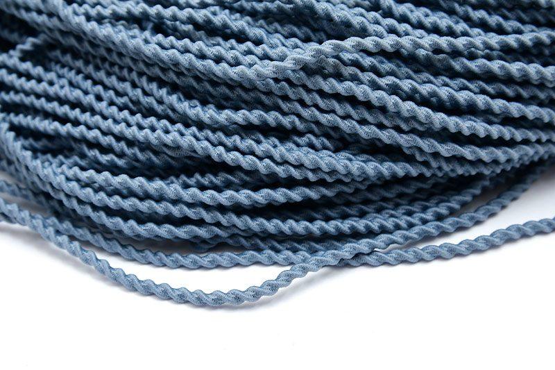 Elastiskt snöre, Tvinnat 3mm, Blågrå