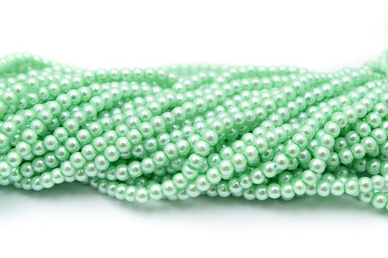 Hel sträng Vaxade glaspärlor 5mm Mintgrön
