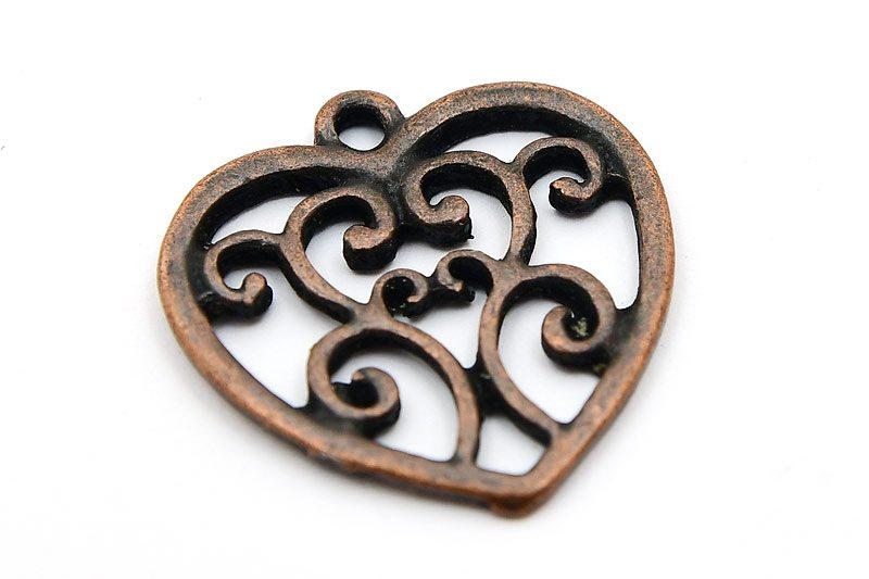 Antik koppar berlock, Hjärta med swirls
