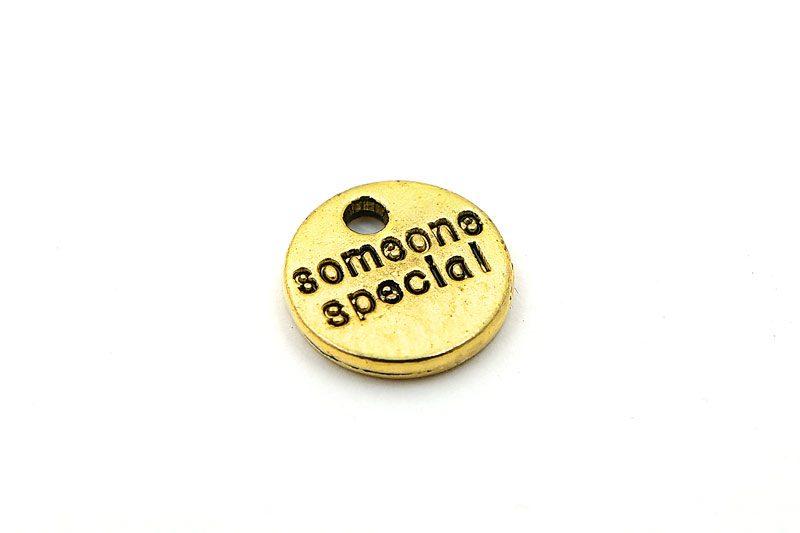 """Antikguld berlock/tag med budskap """"Someone special"""""""