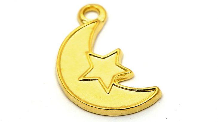 Guldpläterad berlock, Måne och stjärna
