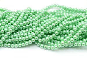 Hel sträng Vaxade glaspärlor 8mm Mintgrön