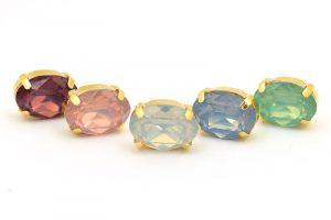 Slider-kit, Guldpläterad stomme + oval cabochon i opal-färg