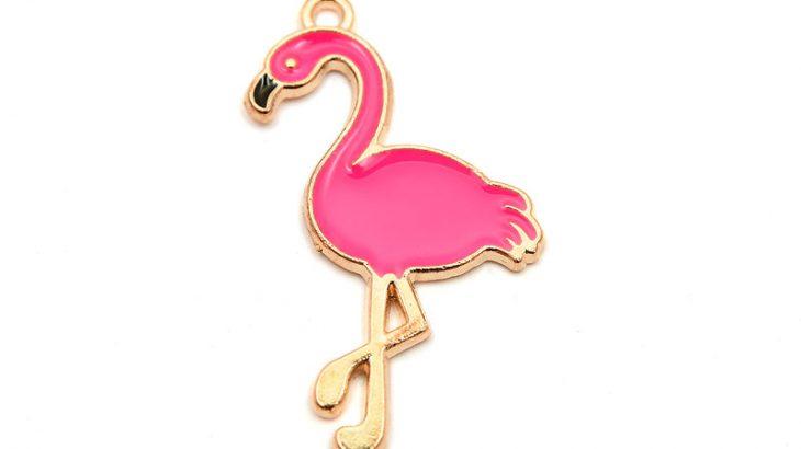 Guldpläterad berlock, Mörkrosa flamingo