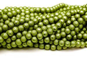 Hel sträng Strukturpärlor 8mm Ärtgrön