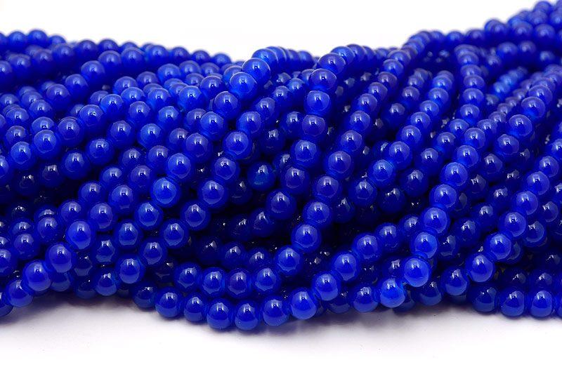 Jadeimitation Runda 8mm Mörkblå