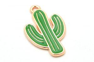 Emaljerad berlock, Kaktus, Ljus guld