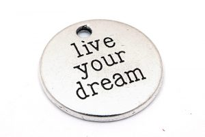 "Antiksilver budskapsbricka ""Live your dream"""