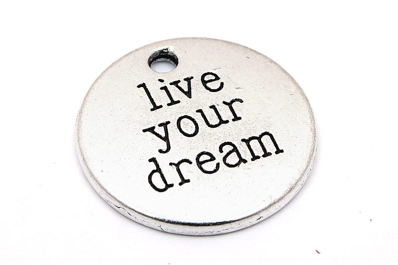 "Antiksilver budskapsbricka ""Live your dream"""