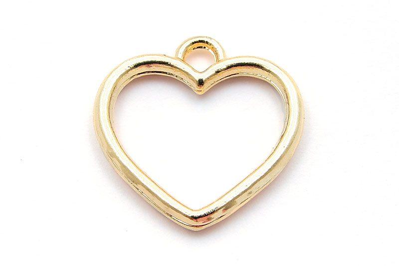 Berlock, Ljus guld, Hjärta 16mm