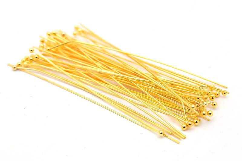 Guldpläterade hattpinnar med kula 50mm