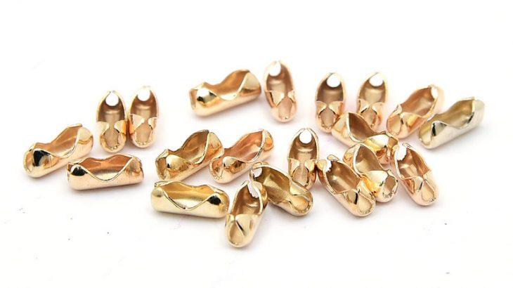Ljust guldpläterade kulkedjefästen 1,5-2mm