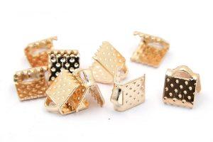 Ljust guldpläterade bandklämmor 6mm