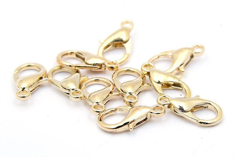 Ljust guldpläterade Karbinlås 12mm