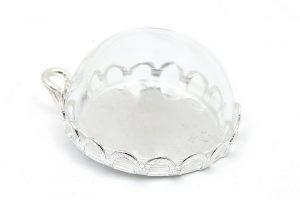 Glaskupa att fylla, helt set Silverpläterat med botten