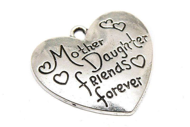 """Antiksilver berlock med budskap """"Mother daughter friends forever"""""""