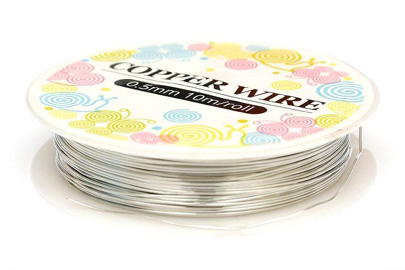 Koppartråd 0.5mm, 10m, silverfärg