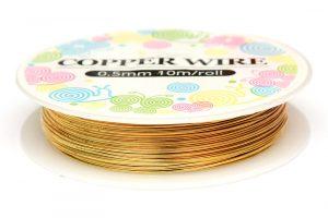 Koppartråd 0.5mm, 10m, Guld