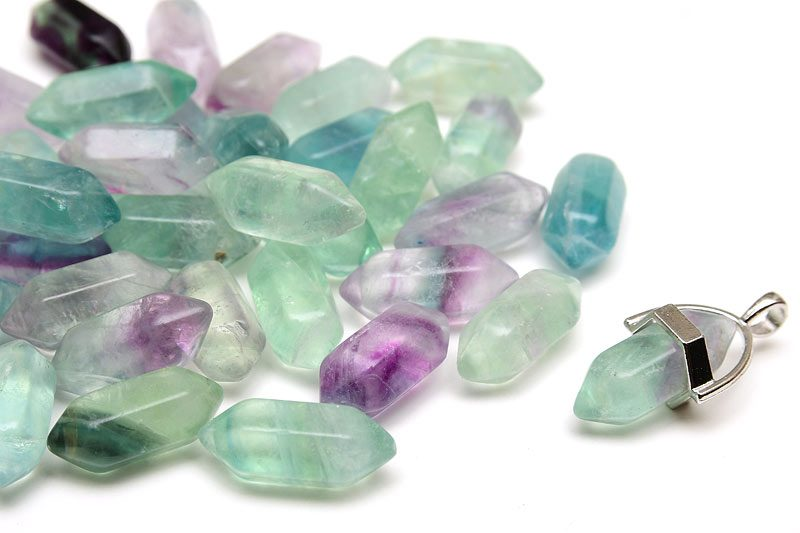 Slipad kristallspets, Fluorit, 20cm