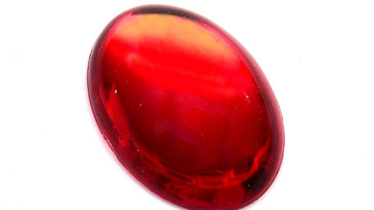 Slät cabochon Oval Röd 25x18mm, Akryl
