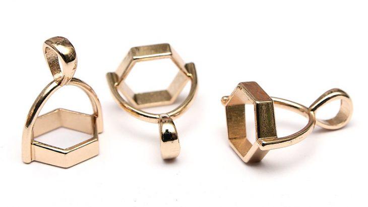 Fästen för kristaller mm. 3st, Ljus guld