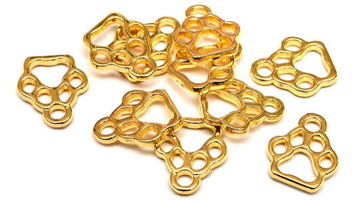 Guldpläterade berlocker Tassavtryck, kontur