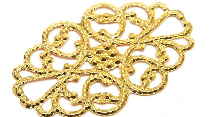 Guldpläterad Filigranplatta för dekoration 31x20mm