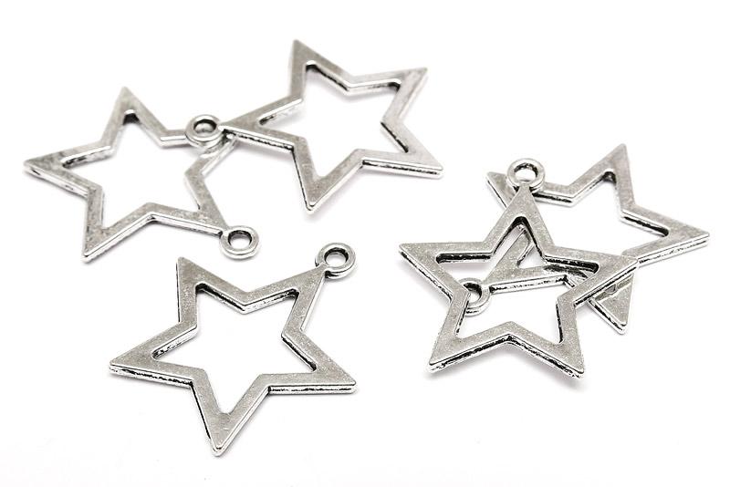 Antiksilver berlocker Stjärnor 25mm