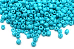 Seed beads 8/0, 3mm, Opak turkos silky