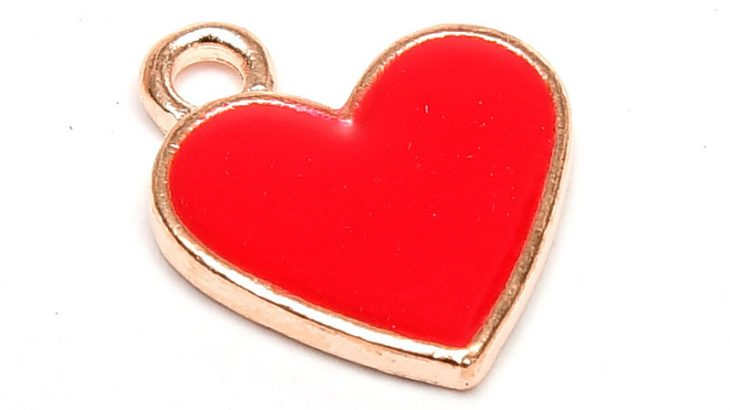 Emaljerad berlock, Rött Hjärta, Ljus guld