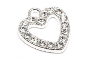 Silverpläterad berlock, Hjärta med kristaller