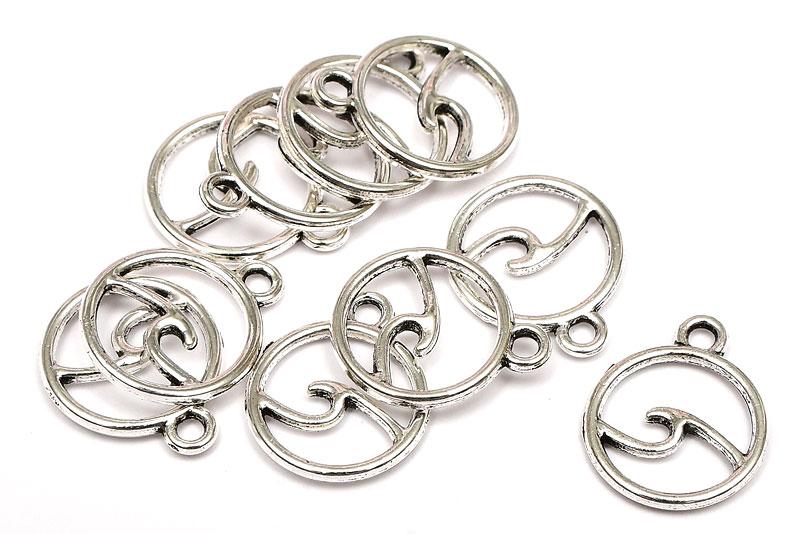 Antiksilver berlocker Cirkel med våg