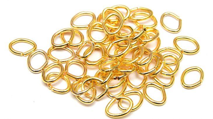 Guldpläterade ovala bindringar 6x4mm