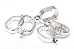 Silverpläterade berlockhängare, stor ögla 13mm