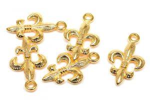 Guldpläterad berlock, Fleur De Lis, Fransk lilja 5st